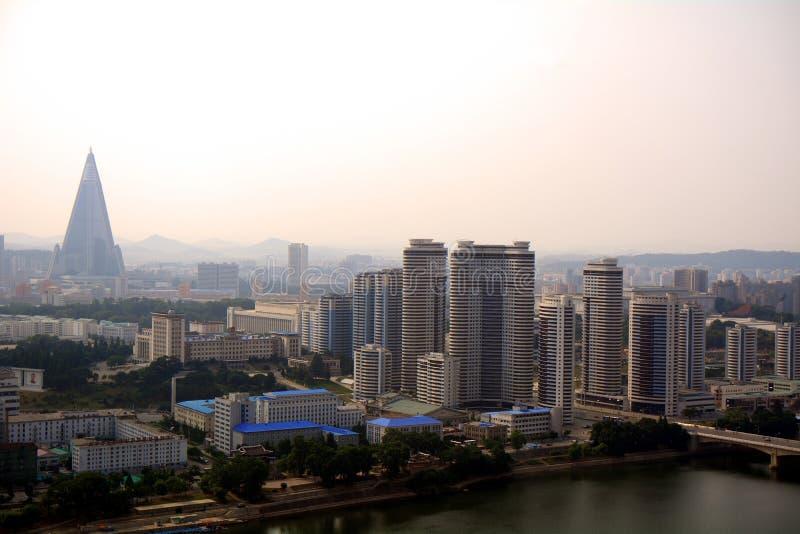 城市的鸟瞰图,平壤,北朝鲜 图库摄影