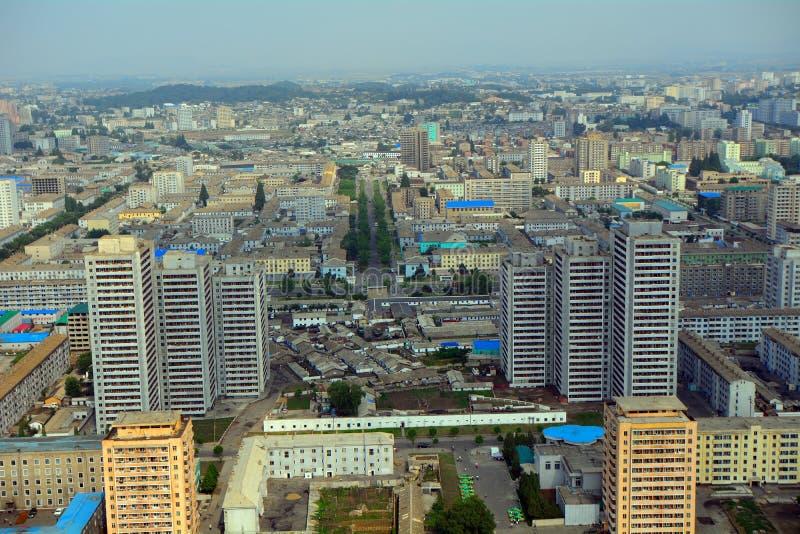 城市的鸟瞰图,平壤,北朝鲜 免版税图库摄影