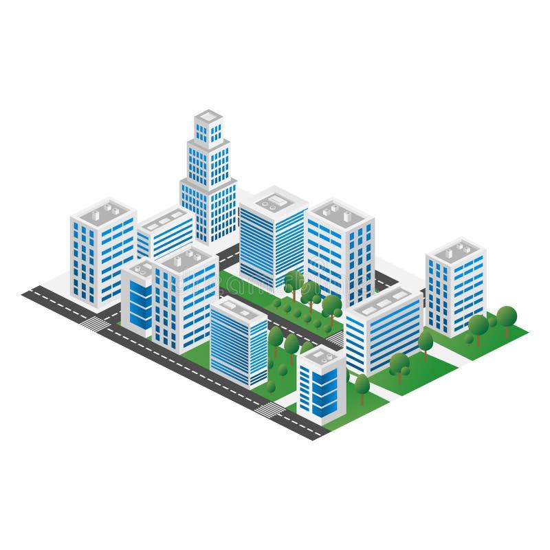 城市的Megapolis 3d等量三维视图 房子、摩天大楼、大厦,被修建和超级市场的汇集 库存例证