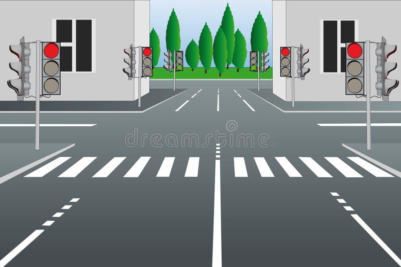 城市空的街道 皇族释放例证