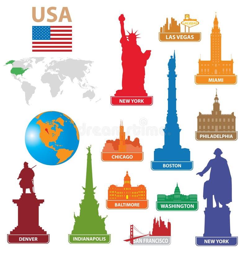 城市符号美国 向量例证