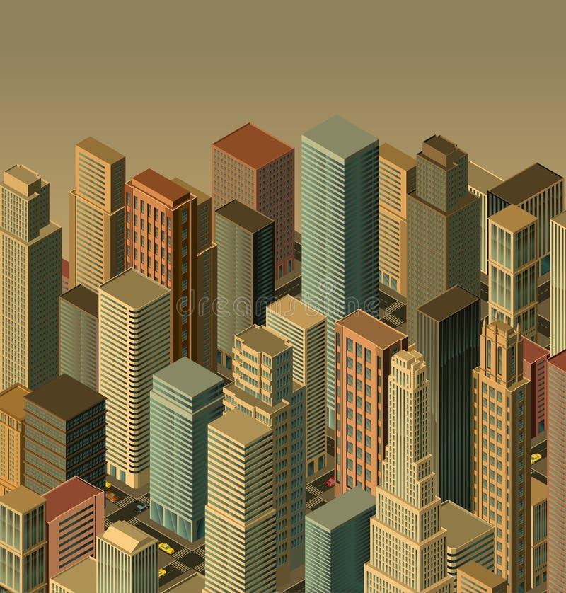 城市等量向量 库存例证