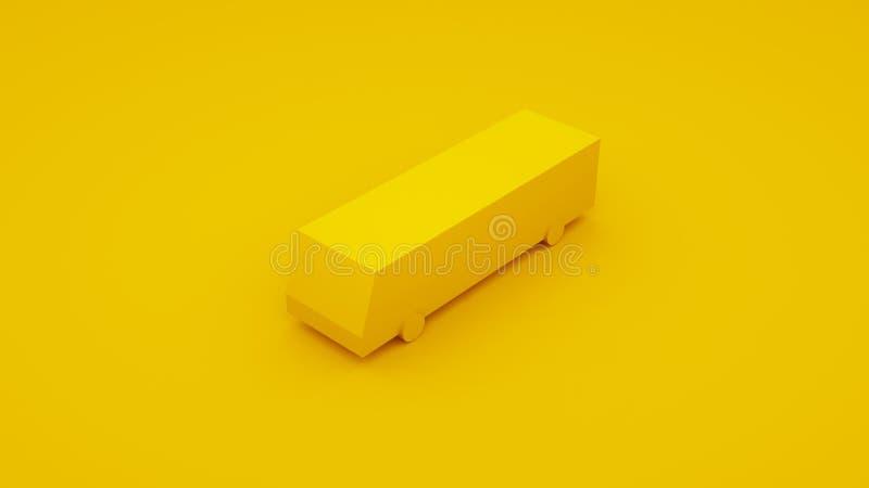 城市等量黄色公共汽车 3d例证 库存例证