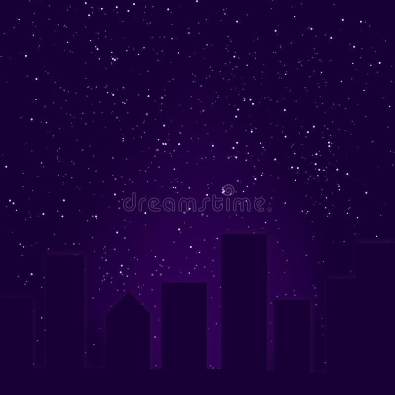 城市紫色地平线 皇族释放例证