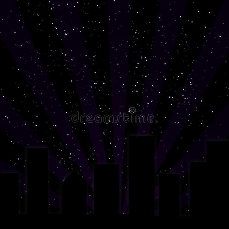 城市紫色地平线 库存例证