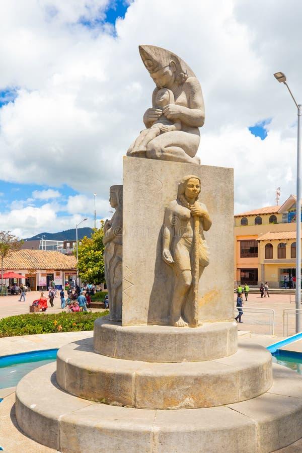 城市纪念碑的哥伦比亚Chia女神 免版税库存照片