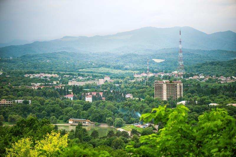 城市纳尔奇克的全景顶视图 免版税图库摄影