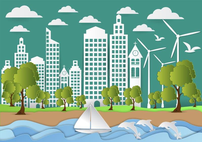 城市纸艺术有海和海滩背景、origami概念和生态想法,传染媒介例证 向量例证