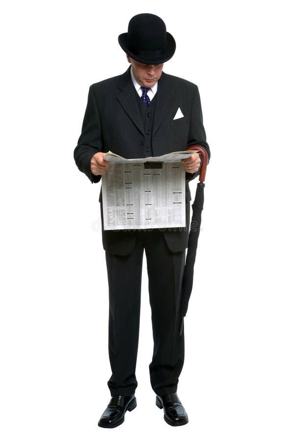 城市绅士报纸读取 图库摄影