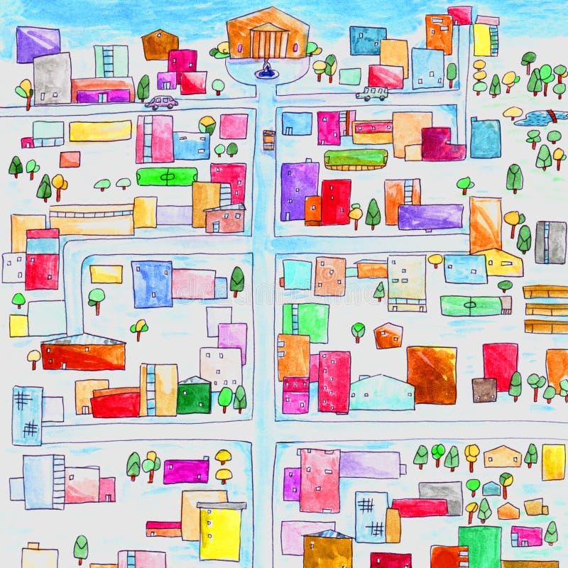 城市绘了在汽车路交叉点沥青都市例证的五颜六色的水彩油漆家庭正方形 向量例证