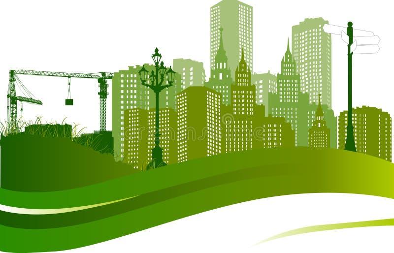城市绿色例证横向 向量例证