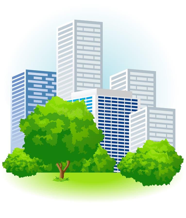 城市绿色 皇族释放例证