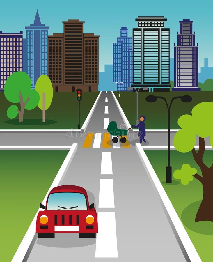 城市编辑数位生成了金黄喂图象res路 向量例证