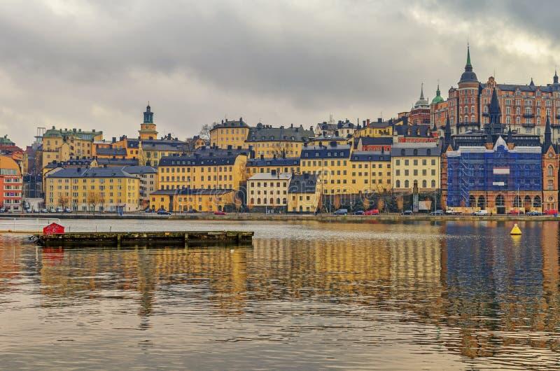 城市老全景照片斯德哥尔摩瑞典城镇 免版税库存图片