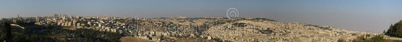 城市耶路撒冷老全景 免版税库存图片