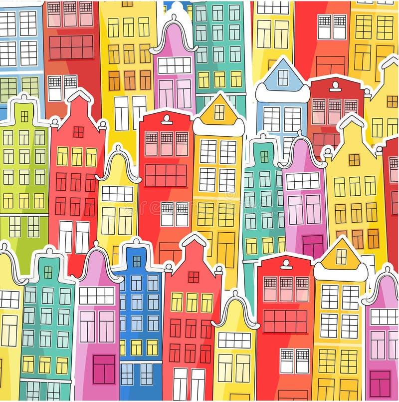 城市背景由明亮,五颜六色的房子做成 适用于书,笔记本,盖子盖子  对织品和纪念品 Vecto 皇族释放例证
