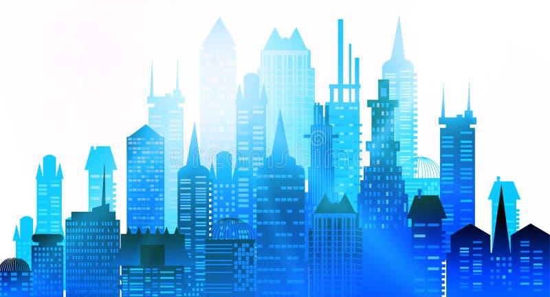 城市背景由许多大厦剪影做成 向量例证