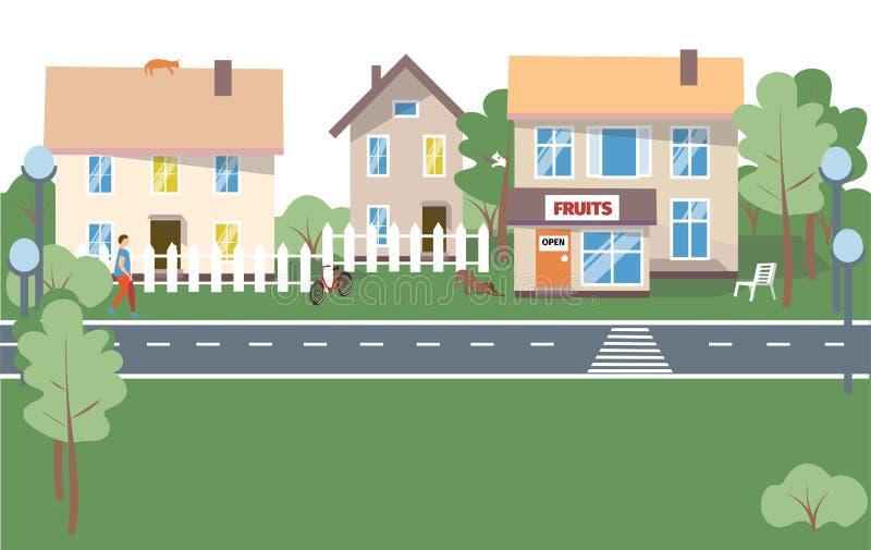 城市背景-在白色背景的现代平的设计样式传染媒介例证 与小的可爱的住宅群 库存例证