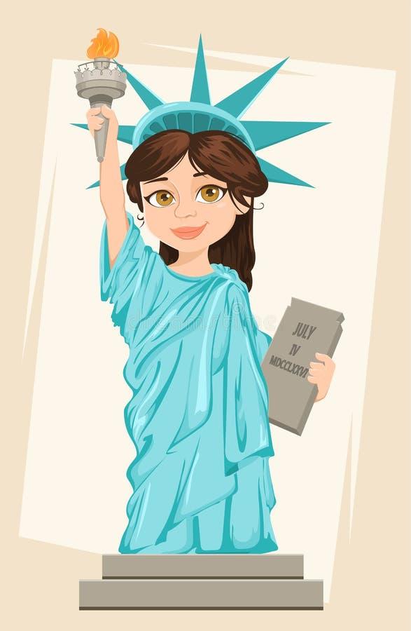 城市自由newyork雕象日落 7月4日 背景日减速火箭grunge的独立 逗人喜爱的动画片风格化字符 皇族释放例证
