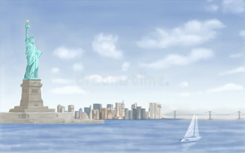 城市自由newyork雕象日落 皇族释放例证