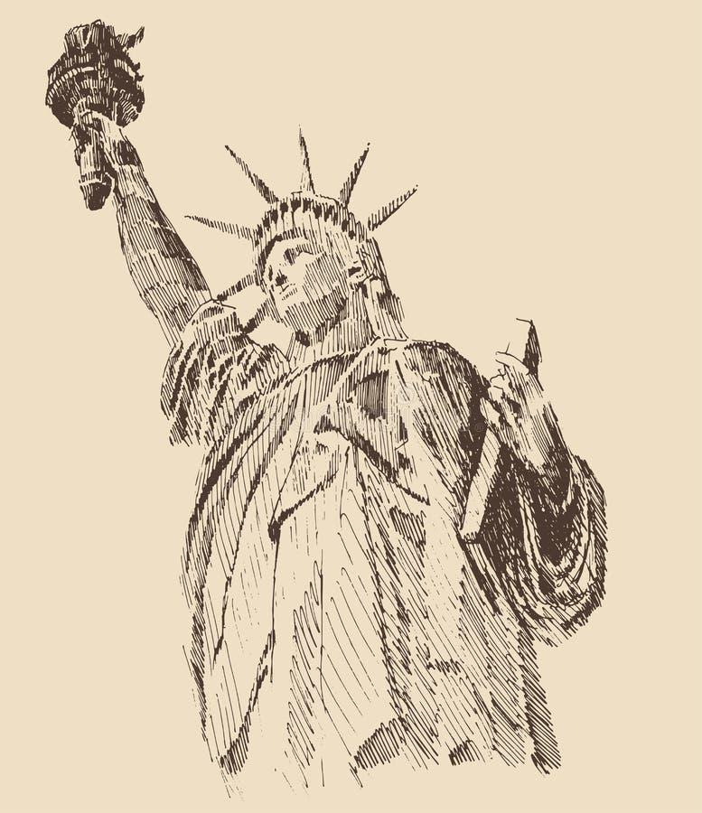 城市自由newyork雕象日落 向量例证