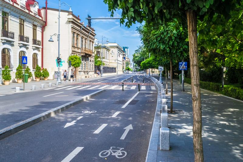 城市自行车车道 库存图片