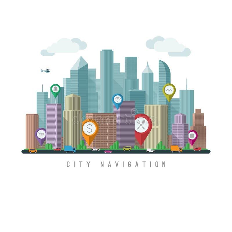 城市航海概念 库存例证