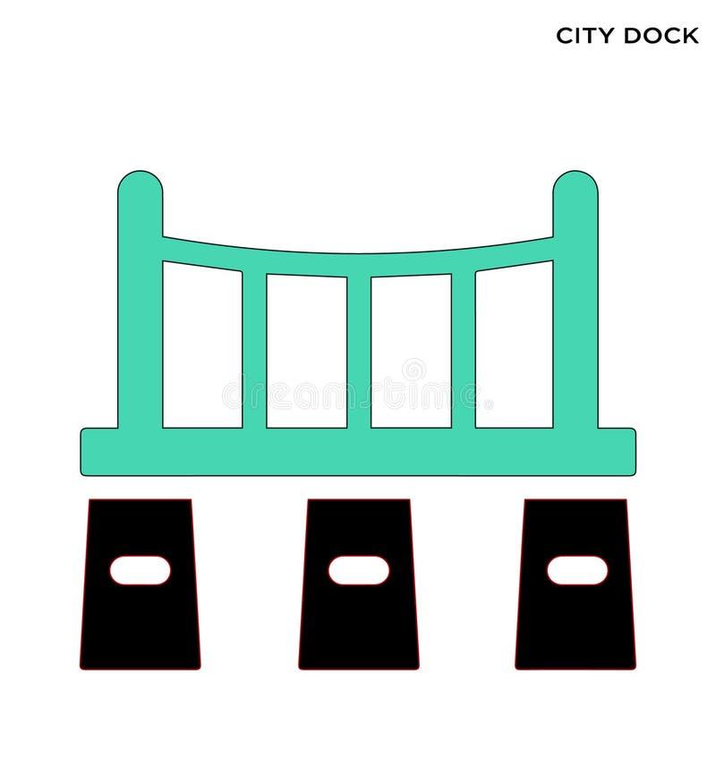 城市船坞象编辑可能的标志设计 皇族释放例证