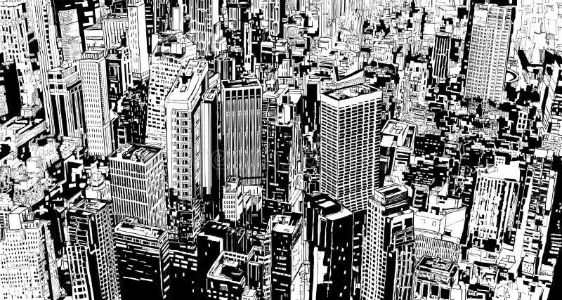 城市虚构的现代摩天大楼街道 向量例证