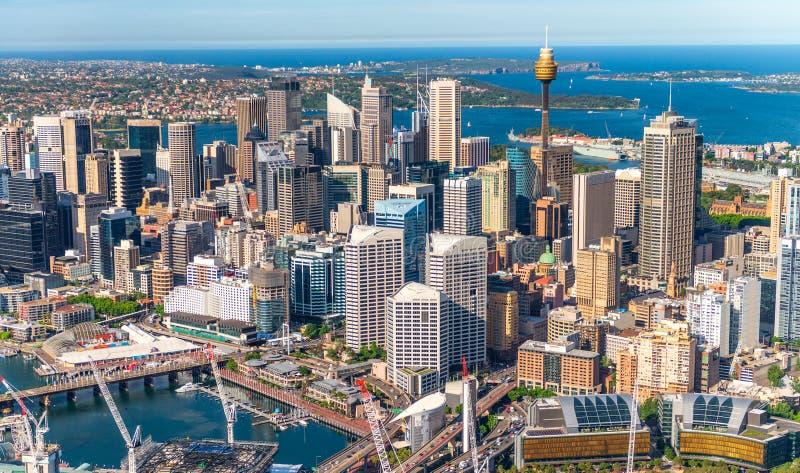 城市街市大厦直升机视图,悉尼 库存图片