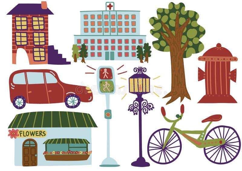 城市街道元素,各种各样的室外城市环境标志导航例证 向量例证