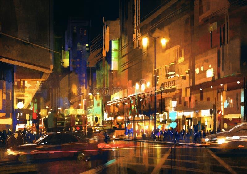 城市街道在与五颜六色的光的晚上,绘 免版税图库摄影