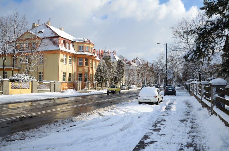 城市街道在冬天格利维采,波兰 库存照片