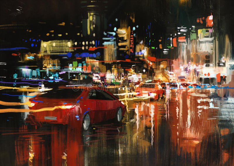 城市街道在晚上 皇族释放例证