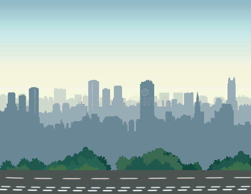 城市街道地平线 与路和摩天大楼的都市风景 库存例证