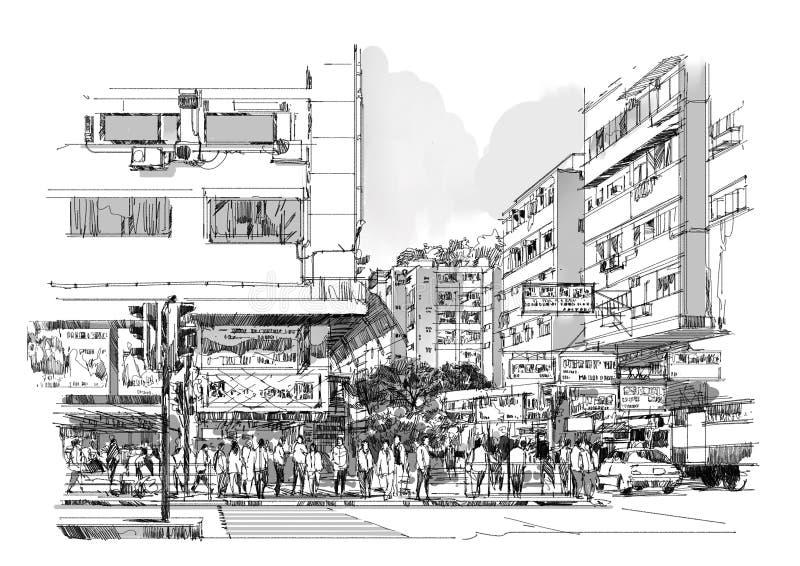城市街道手拉的剪影,都市风景 库存例证