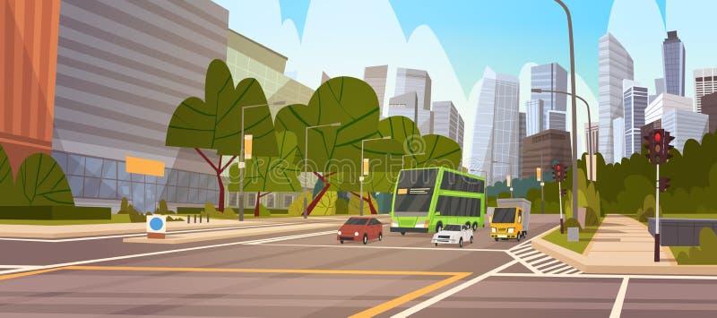 城市街道摩天大楼大厦路视图现代都市风景街市的新加坡 向量例证