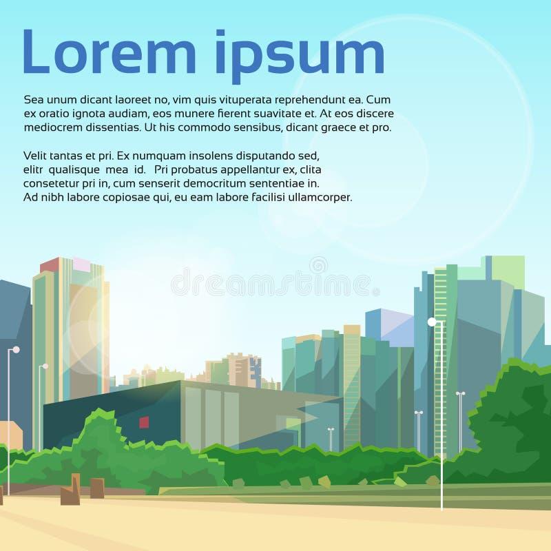 城市街道摩天大楼视图都市风景传染媒介 向量例证