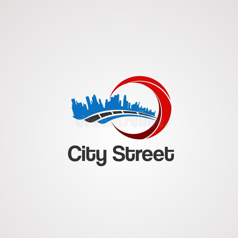 城市街道机智城市土地概念商标传染媒介、象、元素和模板事务的 向量例证