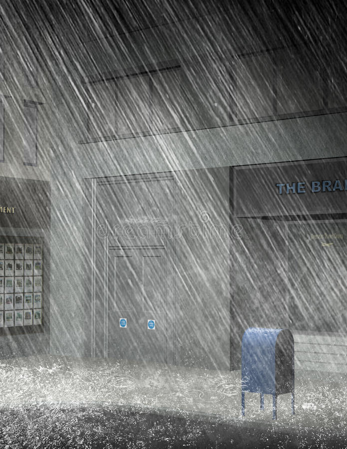 城市街道雨风暴例证 库存例证