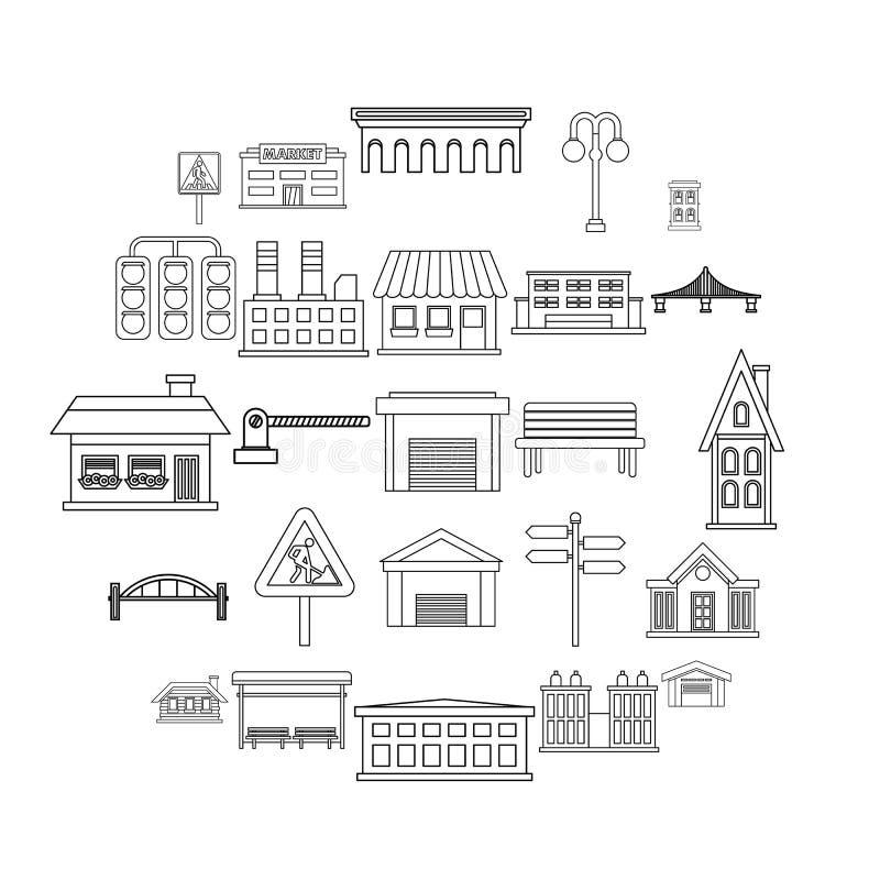 城市被设置的建筑学象,概述样式 向量例证