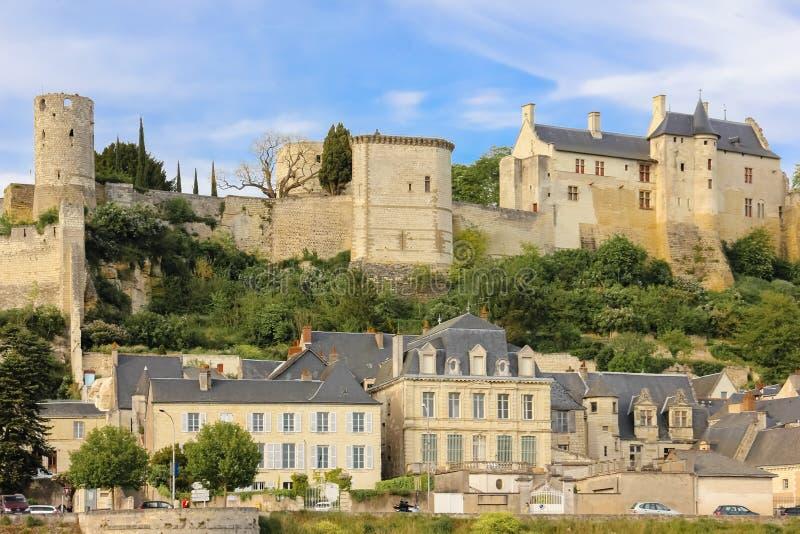 城市视图和堡垒 希农 法国 库存图片