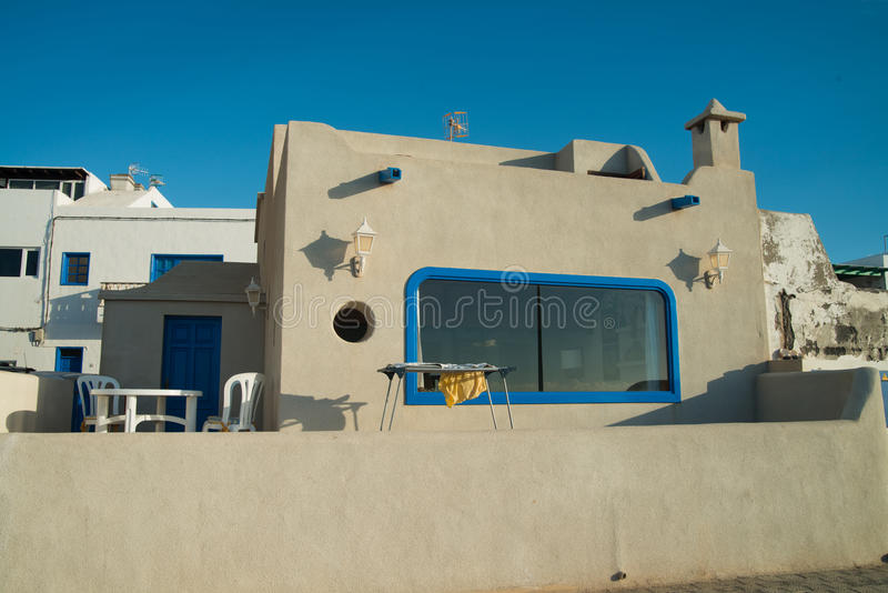 城市视图在兰萨罗特岛 库存图片