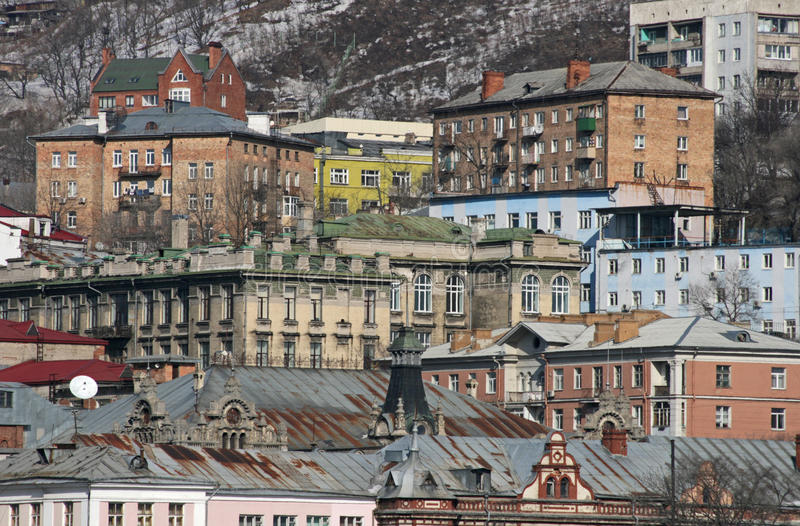 城市视图符拉迪沃斯托克 免版税库存图片