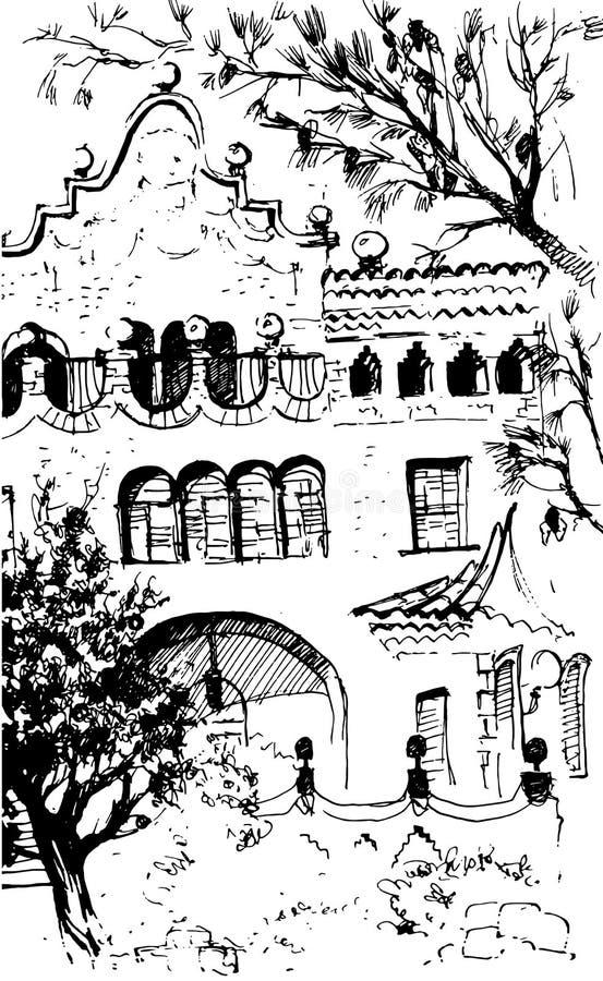 城市视图都市场面 黑白该死的样式剪影,线艺术,画与钢笔画 西部古典趋向 皇族释放例证