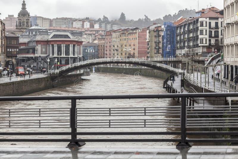 城市视图,在nervion河,毕尔巴鄂的桥梁 免版税库存照片