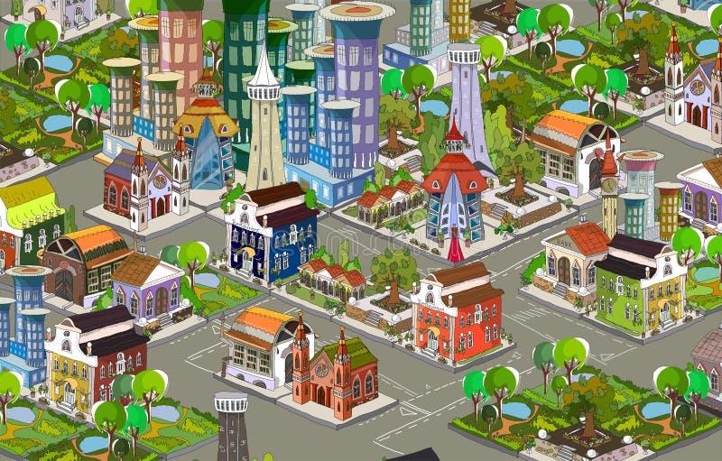 城市象,大厦,公园汇集detailes零件  向量例证