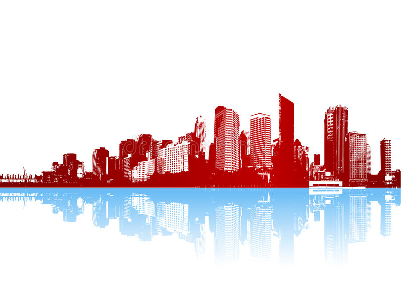 城市质朴的全景反映向量 库存例证