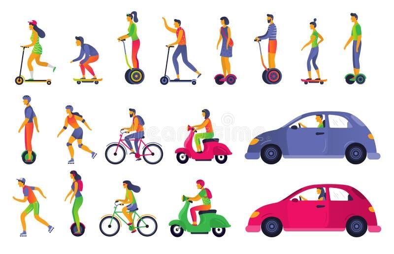城市运输的人们 电滑行车hoverboard,segway和溜冰鞋 镇车和运输汽车传染媒介 皇族释放例证