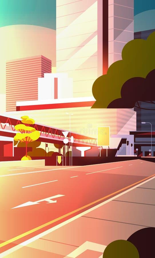 城市道路与现代摩天大楼和地铁都市风景平展垂直日落的背景的街道地平线 皇族释放例证